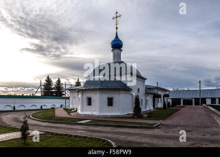 Pereslavl-Zalessky, Russia - October 29, 2015: Feodorovsky convent. Church of Our Lady of Kazan, is constructed - Stock Photo