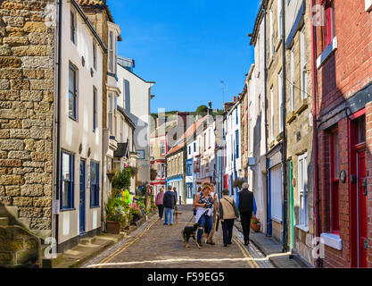 The High Street in the traditional fishing village of Staithes, North York Moors National Park, North Yorkshire, - Stock Photo