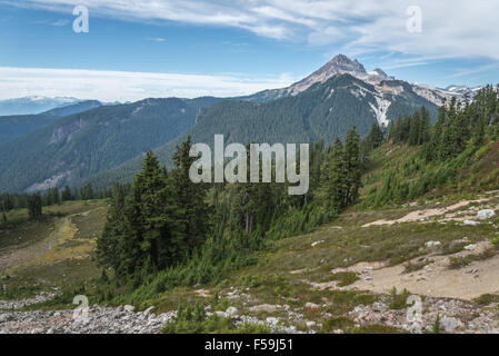 On The Road to Elfin Lakes in Garibaldi Provincial Park, British Columbia, Canada - Mountain, Forest and Snow - Stock Photo