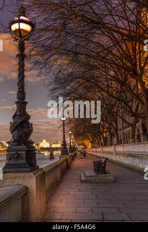 The South Bank opposite The Palace of Westminster - Stock Photo