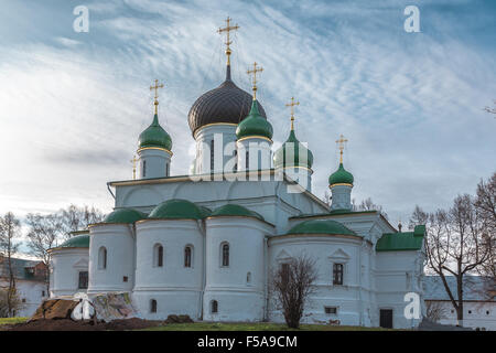 Pereslavl-Zalessky, Russia - October 29, 2015: Feodorovsky convent. Theodor Stratelates cathedral, is constructed - Stock Photo