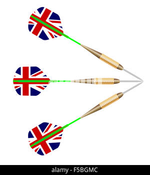 A collection of three playing darts with Union Jack motif all over white - Stock Photo