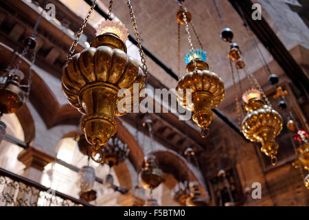 Lamps decorating the Dome of the Rotunda of the Church of the Holy Sepulchre in the the Old city East Jerusalem - Stock Photo