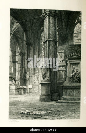 This illustration of Charles Dickens' grave is from John Forster's The Life of Charles Dickens. Dickens' grave is - Stock Photo