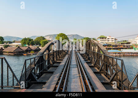 Historical River Kwai Bridge, route from Thailand to Burma, Death Railway, Kanchanaburi Province, Central Thailand, - Stock Photo