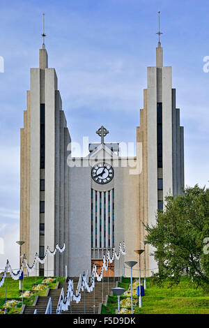 Akureyrarkirkja Lutheran Church, Akureyri, Iceland - Stock Photo