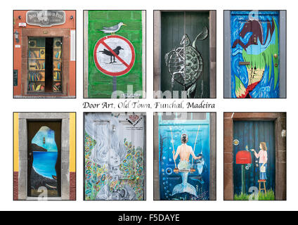 Door Art Montage, Funchal Old Town, Madeira - Stock Photo