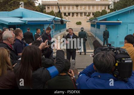 US Secretary of Defense Ashton Carter speaks with reporters during a visit to the Korean Demilitarized Zone November - Stock Photo