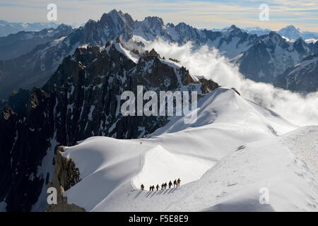 Mountaineers and climbers, Aiguille du Midi, Mont Blanc Massif, Chamonix, Haute Savoie, French Alps, France, Europe - Stock Photo