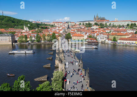 Charles Bridge looking towards the Castle District, Royal Palance and St. Vitus's Cathedral, UNESCO, Prague, Czech - Stock Photo
