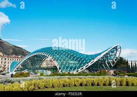 Bridge of Peace on Mtkvari River, Tbilisi, Georgia, Caucasus, Central Asia, Asia - Stock Photo