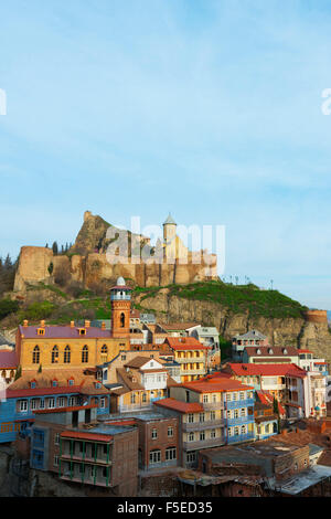 Old town and St. Nicholas church on top of Narikala Fortress, Tbilisi, Georgia, Caucasus, Central Asia, Asia - Stock Photo