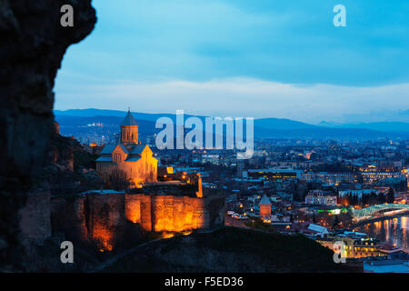 St. Nicholas church on top of Narikala Fortress, Tbilisi, Georgia, Caucasus, Central Asia, Asia - Stock Photo