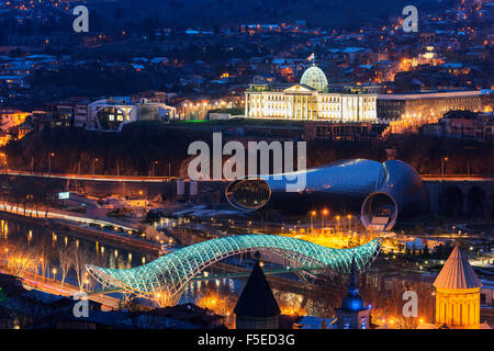 City view including Presidential Palace, Bridge of Peace on Mtkvari River. Tbilisi, Georgia, Caucasus, Central Asia, - Stock Photo