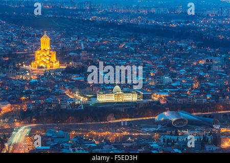 Presidential Palace and Tbilisi Sameda Cathedral (Holy Trinity) biggest Orthodox Cathedral in Caucasus, Tbilisi, - Stock Photo