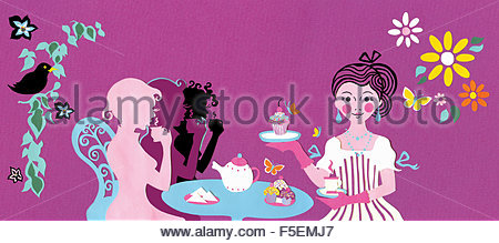Friendly waitress serving afternoon tea in café - Stock Photo
