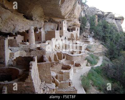 Cliff Palace dwellings built by Ancestral Pueblo Native Americans part of Mesa Verde National Park in southwestern - Stock Photo