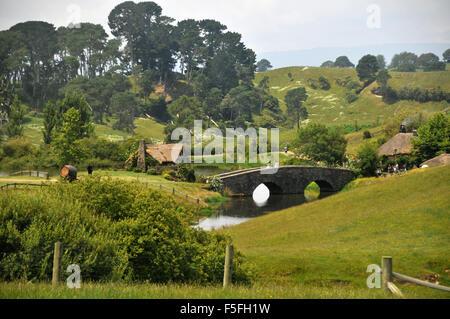Hobbiton movie set, North Island, New Zealand - Stock Photo