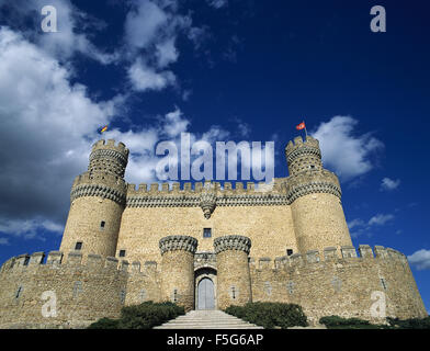Spain. Manzanares El Real. New Castle of Manzanares el Real. Built in 1475 by Diego Hurtado de Mendoza, son of the - Stock Photo
