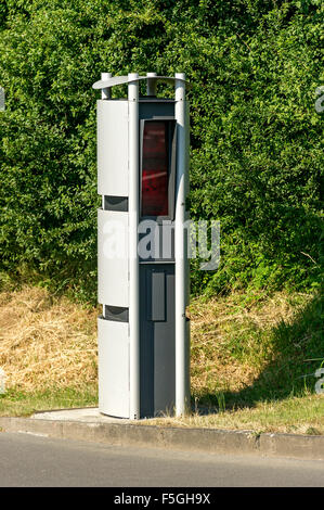 Column with infrared camera traffic speed measurement, Hesse, Germany - Stock Photo