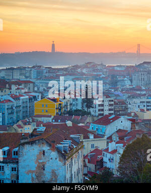 Lisbon Old Town at colorful sunset. Top view. Portugal - Stock Photo