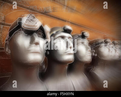 Dummies wearing headlamps, on display in an outdoor shop. Digital art and illustration. - Stock Photo