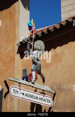 Toy museum entrance sign Prague Castle Czech Republic - Stock Photo