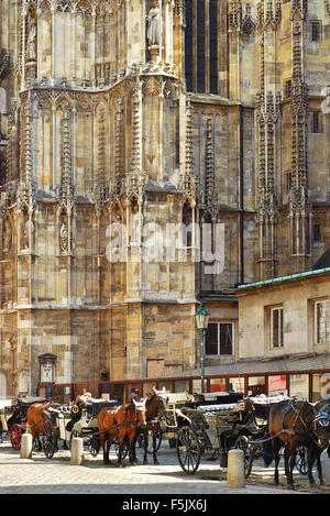 VIENNA, AUSTRIA - JUNE 20, 2011: Vintage tourist chariots in St. Stephans Plaza austrian capital, with the gothic - Stock Photo