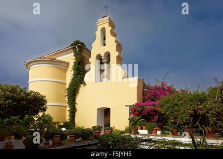 Bells in the bell tower, church, monastery of Panagia Theotokos tis Paleokastritsas or Panagia Theotokos, Paleokastritsa, - Stock Photo