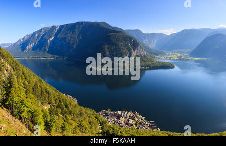 Aerial view on Hallstatt, in upper Austria is a village in the Salzkammergut, a region in Austria. - Stock Photo