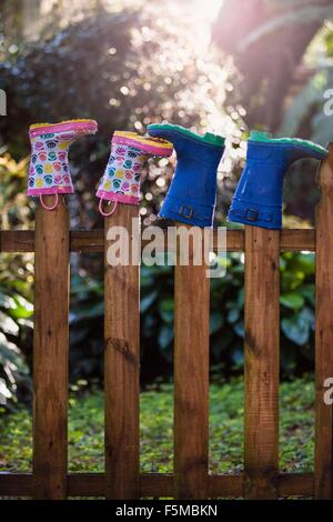 Rubber boots, upturned, on wooden fence posts - Stock Photo