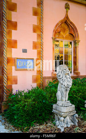 Entrance to the John and Mable Ringling's mansion, Ca'd'Zan, on the grounds of the Ringling Museum of Art in Sarasota, - Stock Photo