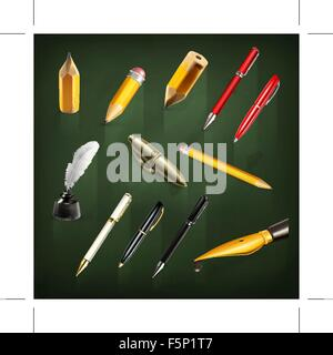 Pens and pencils, set vector icons - Stock Photo