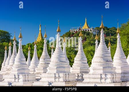 Sandamuni Pagoda Temple stupas in Mandalay, Myanmar. - Stock Photo