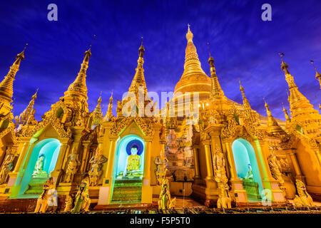 Shwedagon Pagoda in Yangon, Myanmar. - Stock Photo