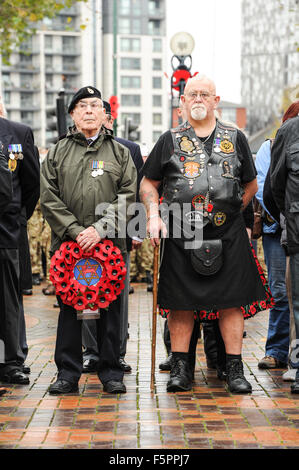 Birmingham, UK. 08th Nov, 2015. Remembrance Sunday: Veterans in Centenary Square in Birmingham during Remembrance - Stock Photo