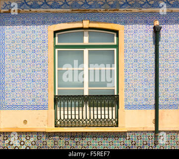 Decorated window with balcony close up - Stock Photo