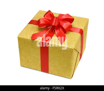 Glittering gold gift box on white background with a nice red bow - Stock Photo