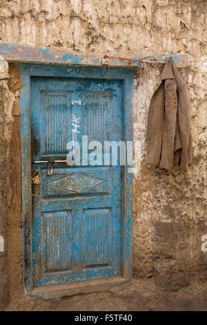 India, Himachal Pradesh, Spiti, Hikkim, blue painted house door - Stock Photo