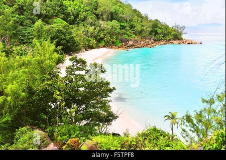 Beach Anse Georgette,  Island Praslin, Seychelles - Stock Photo
