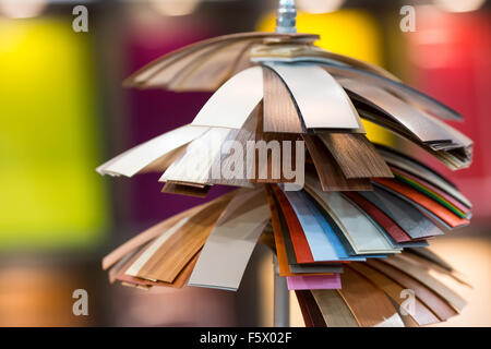 Various color samples of decorative material - Stock Photo