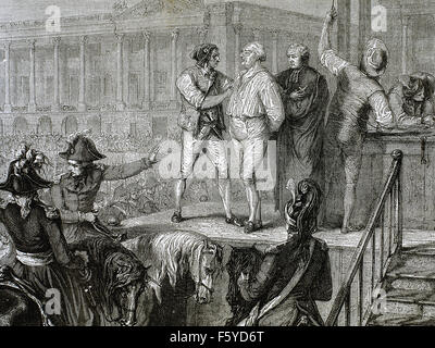 French Revolution. Execution of Louis XVI of France (1754-1793) in the Revolution Square (Concorde Square). 21 January - Stock Photo