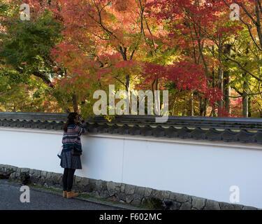 Kyoto, Japan, November 10, 2015. A female visitor at the entrance of Eikando Zenrinji Temple takes part in Momijigari - Stock Photo