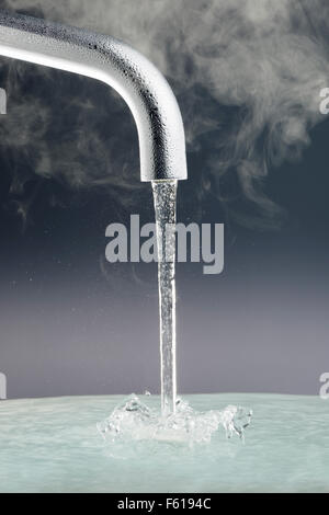 Tap with Running Water - Stock Photo