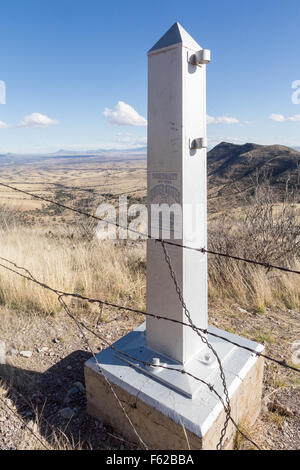 An obelisk marking the border between the United States and Mexico, Coronado National Memorial, Arizona - Stock Photo