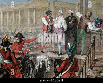 French Revolution. Execution of King Louis XVI (1754-1793) on January 21, 1793. Paris. Colored engraving. - Stock Photo