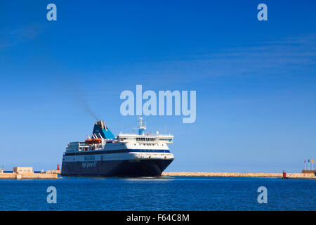 Balearia High Speed 45 Balearic Islands ferry entering port at Denia In Spain - Stock Photo