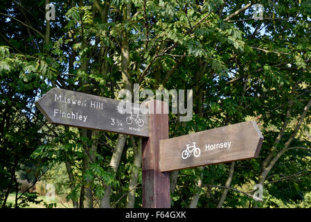 Fingerpost showing London Cycle Routes, Alexandra Park London Borough of Haringey England Britain UK - Stock Photo
