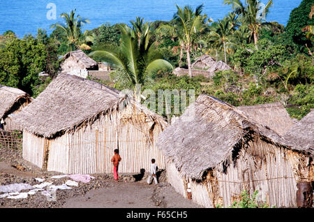 Fishermen's houses made of palm leaves and wood on Grande Comore island, Comoros - Stock Photo