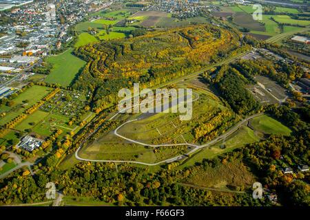 Bergehalde, stockpile, Abraumhalde Kissinger height and Humbert Halde, Herringen, Hamm, Ruhr area, North Rhine-Westphalia - Stock Photo